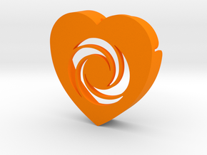 Heart shape DuoLetters print O in Orange Processed Versatile Plastic
