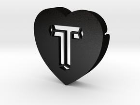 Heart shape DuoLetters print T in Matte Black Steel