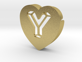 Heart shape DuoLetters print Y in Natural Brass