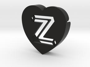 Heart shape DuoLetters print Z in Black Natural Versatile Plastic