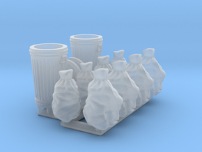 Trash cans & trash bags. 1:72 scale  in Smooth Fine Detail Plastic