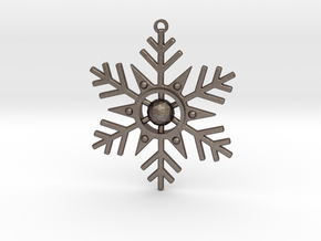 Geometric Snowflake Ornament in Polished Bronzed-Silver Steel
