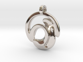Circle Wave Pendant in Rhodium Plated Brass