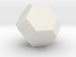 Truncated Octahedron - 1 Inch - Rounded V2 in White Natural Versatile Plastic