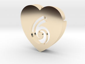 Heart shape DuoLetters print 6 in 14k Gold Plated Brass
