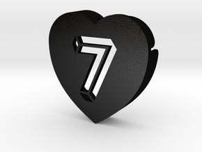 Heart shape DuoLetters print 7 in Matte Black Steel