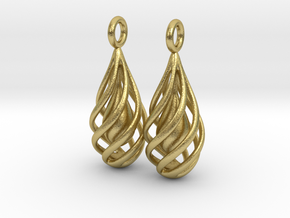 Spiral Earrings in Natural Brass