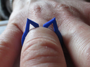 cat ears ring size 6 in Blue Processed Versatile Plastic