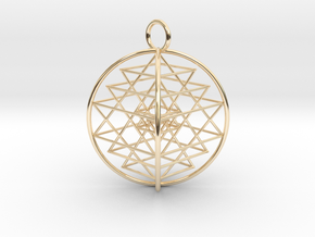 3D Sri Yantra 4 Sided Symmetrical in 14K Yellow Gold