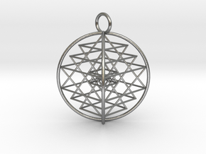 "3D Sri Yantra 4 Sided Symmetrical 2.2"" in Natural Silver"