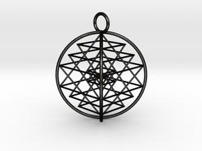 3D Sri Yantra Symmetrical in Matte Black Steel