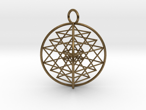 "3D Sri Yantra 4 Sided Symmetrical 2.2"" in Natural Bronze"