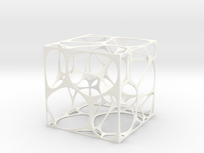 Voronoi Cube in White Strong & Flexible Polished