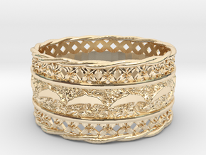 Dolphin Bangle in 14k Gold Plated Brass
