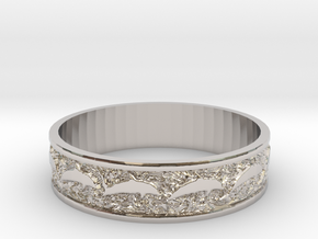Dolphin Bangle - Simplified in Rhodium Plated Brass