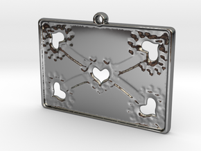 Lovers Pendant in Fine Detail Polished Silver