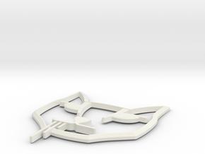 Stalker Cat Badge Flat 85mm in White Natural Versatile Plastic