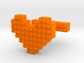 SCULP® Heart Cufflinks in Orange Processed Versatile Plastic