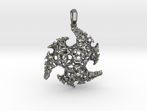 indra Fractal Pendant in Polished Silver