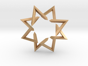 Regular 3D Polygon: (+++---)^4-rotated (medium) in Natural Bronze