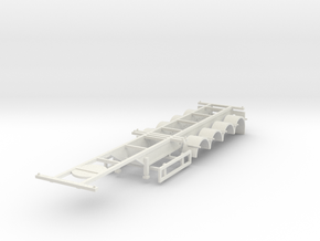 000742 4a Container Trailer HO 40' in White Natural Versatile Plastic: 1:87 - HO