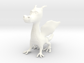 Young Dragon Figurine in White Processed Versatile Plastic