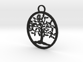 Tree Pendant in Black Natural Versatile Plastic