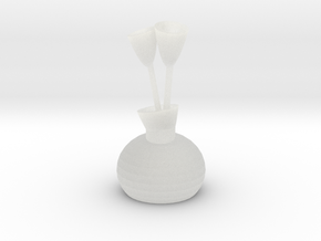 Vase Of Tulips in Smooth Fine Detail Plastic