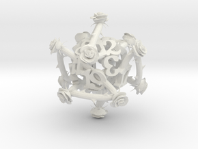 D20 Priar Rose Dice in White Natural Versatile Plastic