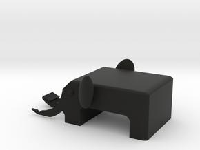 Elephant mobile phone stand in Black Premium Versatile Plastic