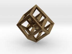 Hypercube Pendant in Raw Bronze