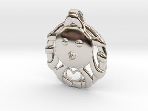 Cute Octopus Pendant with Heart in Platinum