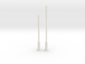 Small Cell Wireless Network Poles 1/64th Scale in White Natural Versatile Plastic