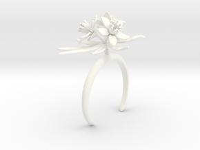 Choisya bracelet with three large flowers in White Processed Versatile Plastic: Medium