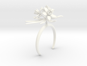 Choisya bracelet with three large flowers in White Processed Versatile Plastic: Medium