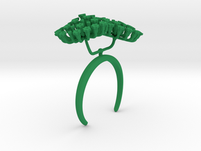 Fennel bracelet with two large flowers II R in Green Processed Versatile Plastic: Medium