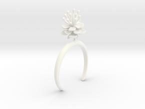 Peach invisus bracelet with one large flower in White Processed Versatile Plastic: Medium