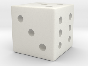 Loaded/Weighted/Rigged Die/Dice (Smaller) in White Natural Versatile Plastic