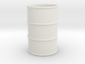 Oil Barrel (open) 1/35 in White Natural Versatile Plastic