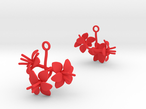 Amaryllis earring with three large flowers in Red Processed Versatile Plastic