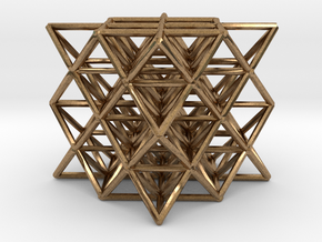 "64 Tetrahedron Grid small 1"" in Natural Brass"