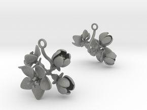 Apple earring with four large flowers in Gray PA12