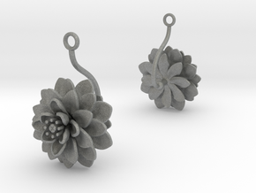 Dhalia earring with one large flower in Gray PA12