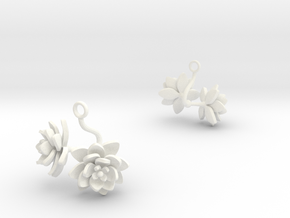 Lotus earring with two large flowers in White Processed Versatile Plastic