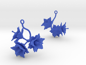 Potato earring with three large flowers in Blue Processed Versatile Plastic