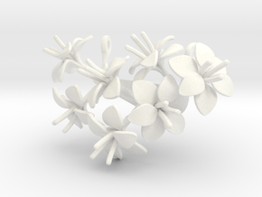 Amaryllis pendant with seven large flowers in White Processed Versatile Plastic