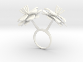 Anemone ring with two large flowers L in White Processed Versatile Plastic: 7.25 / 54.625