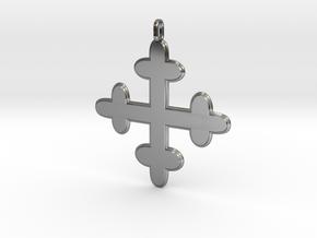 croix des templiers - Templar cross in Fine Detail Polished Silver