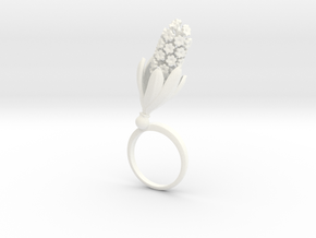 Hyacinth ring with one large flower in White Processed Versatile Plastic: 7.25 / 54.625