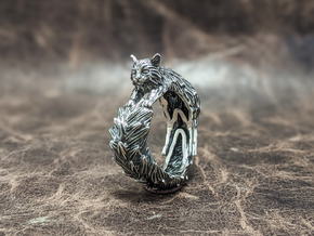 Long-haired Cat ring in Antique Silver: 10 / 61.5